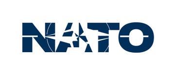 De naam van de NAVO met vlag Stock Afbeelding