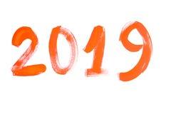 De naam van het jaar 2019 het inschrijvingscijfer op een witte achtergrond in sinaasappel stock afbeeldingen