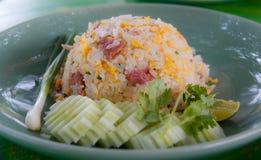 De naam van het Kaaoklopje, Fried Rice met Zuur Varkensvlees Stock Foto