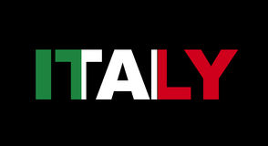 De naam van Italië met vlag Stock Fotografie
