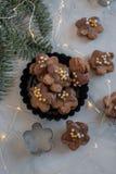 De naar huis gemaakte koekjes van chocoladekerstmis met feestelijke decoratie stock foto's