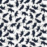 In de nacht Halloween Naadloos patroon met zwarte ratten op een witte achtergrond vector illustratie