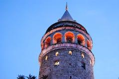 De nacht Istanboel Turkije van Kule van de Galatatoren royalty-vrije stock foto