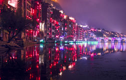 De nacht lichte scène van de Zhenyuan oude stad Royalty-vrije Stock Fotografie
