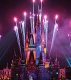De nacht toont in Tokyo Disneyland Stock Afbeeldingen