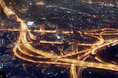De nacht van Bangkok Stock Fotografie