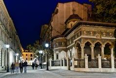 De nacht van Boekarest Stock Afbeelding