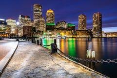 De nacht van Boston Downtont stock fotografie