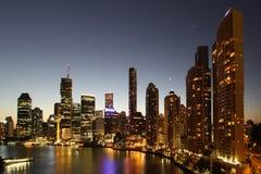 De nacht van Brisbane Stock Foto's