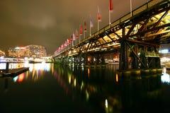 De nacht van de de schathaven van Sydney cbd scape royalty-vrije stock afbeeldingen