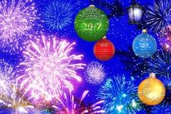 De nacht van de de vieringsfee van het Kerstmisnieuwjaar Stock Foto