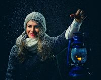 De nacht van de de winterfantasie Stock Afbeelding