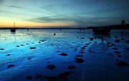 De nacht van de het estuariumschemering van Exe Stock Afbeeldingen