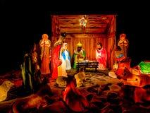 De Nacht van de Scène van de geboorte van Christus Stock Foto's