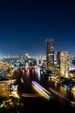 De Nacht van de Stad van Bangkok, Thailand. Royalty-vrije Stock Foto's
