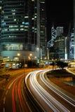De Nacht van de Stad van Hongkong stock afbeeldingen
