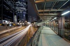 De Nacht van de stad van Hongkong stock foto
