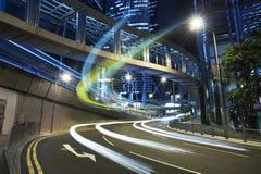 De Nacht van de Stad van Hongkong stock foto's