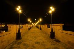 De nacht van de steenbrug Stock Afbeelding