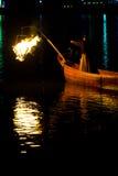 De Nacht van de Ukaiaalscholver de Vuurgloed Gifu van de Visserijvogel Stock Afbeeldingen