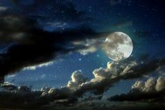 De nacht van de volle maan Stock Foto