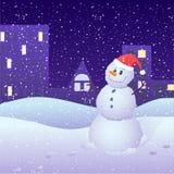 De nacht van de winter in de stad Stock Afbeeldingen