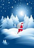 De nacht van de winter met de Kerstman Royalty-vrije Stock Afbeeldingen