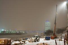 De nacht van de winter in Moskou stock afbeeldingen
