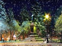 De nacht van de winter van de binnenstad Royalty-vrije Stock Foto
