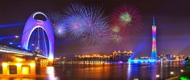 De nacht van Guangzhou Royalty-vrije Stock Foto