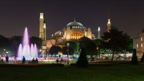 De nacht van Hagiasophia museum istanbul turkey timelapse stock footage