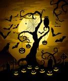 De nacht van Halloween Stock Afbeeldingen