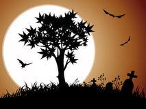 De nacht van Halloween met volle maan stock afbeeldingen