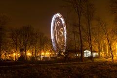 De nacht van het aantrekkelijkheidspark Freezlight Royalty-vrije Stock Foto's