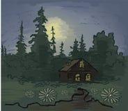 De nacht van het maanlicht. De hand trekt Royalty-vrije Stock Foto's