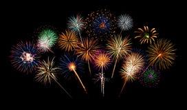 De Nacht van het vuurwerk Stock Afbeeldingen