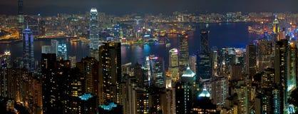 De Nacht van Hongkong Stock Foto