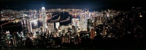 De nacht van Hongkong Royalty-vrije Stock Afbeelding