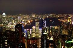 De nacht van Hongkong Royalty-vrije Stock Foto