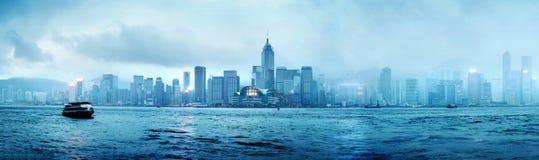 De nacht van Hongkong Stock Afbeelding