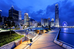 De nacht van Hongkong Royalty-vrije Stock Fotografie