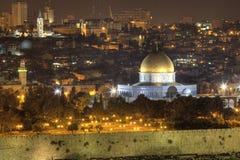 De nacht van Jeruzalem stock foto's