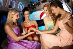 De nacht van kippen in limousine royalty-vrije stock foto's