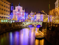 De nacht van Ljubljana Stock Afbeeldingen