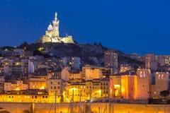 De nacht van Marseille Frankrijk Stock Fotografie