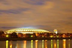 De nacht van Moskou, het stadion ` Luzhniki ` Stock Foto
