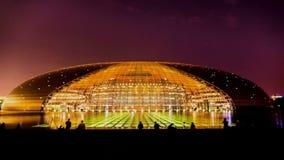 De nacht van Nationaal Groot Theater in Peking stock footage