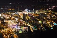 De nacht van Santorini - Griekenland Royalty-vrije Stock Afbeeldingen