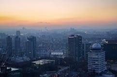 De nacht van Seoel, Zuid-Korea, 12-19-2012: Cityscape bij de Toren van N Seoel, Seoel, Zuid-Korea Stock Foto's