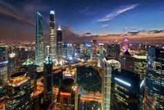 De Nacht van Shanghai Stock Afbeeldingen